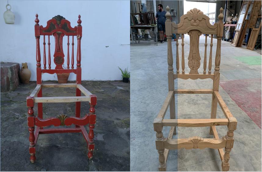 decapado de silla antigua